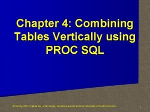 Chapter 4 Combining Tables Vertically using PROC SQL