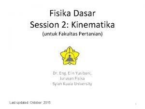 Fisika Dasar Session 2 Kinematika untuk Fakultas Pertanian