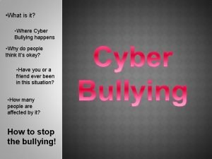 What is it Where Cyber Bullying happens Why