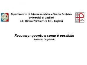 Dipartimento di Scienze mediche e Sanit Pubblica Universit