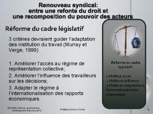 Rforme du cadre lgislatif 3 critres devraient guider
