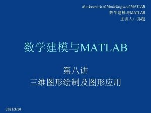Mathematical Modeling and MATLAB MATLAB MATLAB 2021310 clc