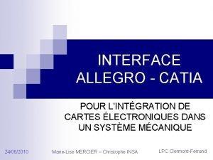 INTERFACE ALLEGRO CATIA POUR LINTGRATION DE CARTES LECTRONIQUES