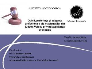 ANCHETA SOCIOLOGICA Opinii preferine i exigene profesionale magistrailor