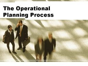 The Operational Planning Process Planning Dimensions Planning Determining