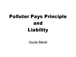 Polluter Pays Principle and Liability Gyula Bndi OECD