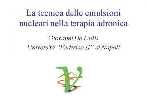 La tecnica delle emulsioni nucleari nella terapia adronica