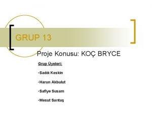 GRUP 13 Proje Konusu KO BRYCE Grup yeleri