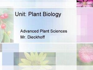 Unit Plant Biology Advanced Plant Sciences Mr Dieckhoff