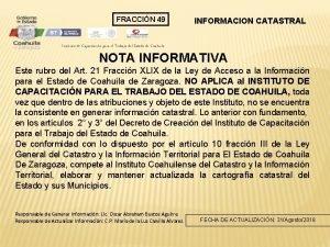 FRACCIN 49 INFORMACION CATASTRAL Instituto de Capacitacin para