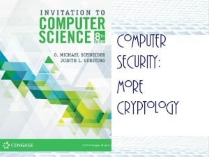 Computer Security More Cryptology ALERT Lab 9 is