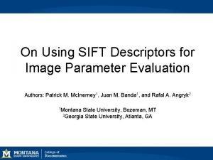 On Using SIFT Descriptors for Image Parameter Evaluation
