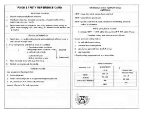 FOOD SAFETY REFERENCE CARD PERSONAL HYGIENE MINIMUM COOKING