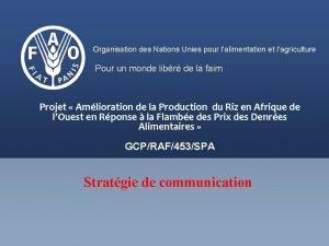 Organisation des Nations Unies pour lalimentation et lagriculture