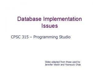 Database Implementation Issues CPSC 315 Programming Studio Slides