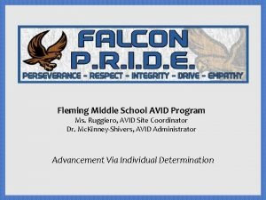 Fleming Middle School AVID Program Ms Ruggiero AVID