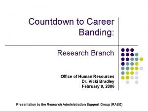 Countdown to Career Banding Research Branch Office of