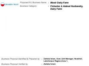 Proposed NU Business Name Monir Dairy Farm Business