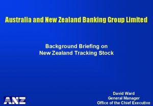 Australia and New Zealand Banking Group Limited Background