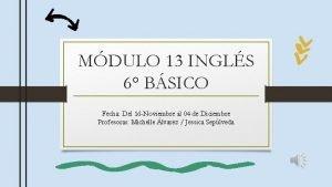 MDULO 13 INGLS 6 BSICO Fecha Del 16