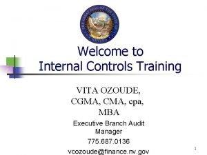 Welcome to Internal Controls Training VITA OZOUDE CGMA