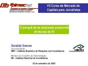 VII Curso de Mercado de Capitais para Jornalistas