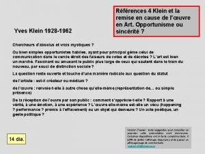 Yves Klein 1928 1962 Rfrences 4 Klein et