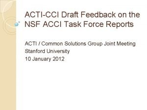 ACTICCI Draft Feedback on the NSF ACCI Task