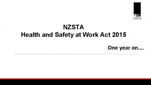 NZSTA Health and Safety at Work Act 2015