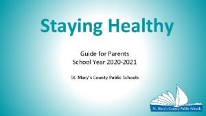 Staying Healthy Guide for Parents School Year 2020