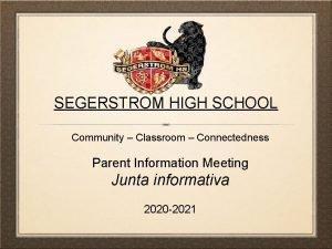 SEGERSTROM HIGH SCHOOL Community Classroom Connectedness Parent Information