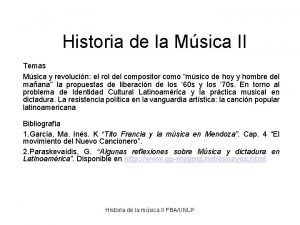 Historia de la Msica II Temas Msica y
