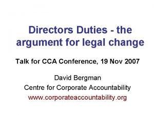 Directors Duties the argument for legal change Talk