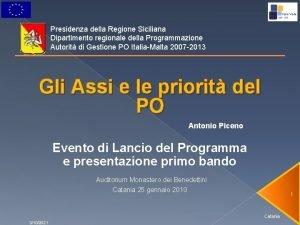 Presidenza della Regione Siciliana Dipartimento regionale della Programmazione