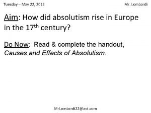 Tuesday May 22 2012 Mr Lombardi Aim How