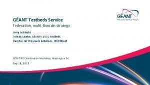 GANT Testbeds Service Federation multiDomain strategy Jerry Sobieski
