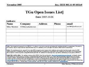 November 2005 doc IEEE 802 11 051031 r