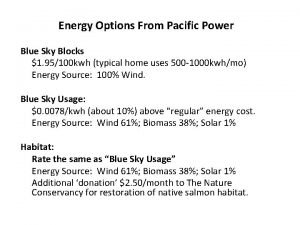 Energy Options From Pacific Power Blue Sky Blocks