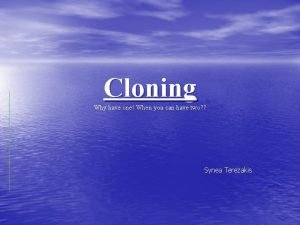 Cloning Why have one When you can have