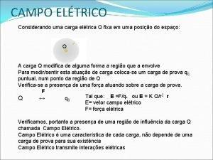 CAMPO ELTRICO Considerando uma carga eltrica Q fixa
