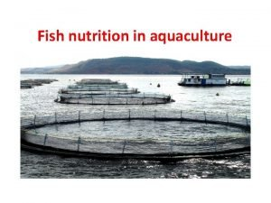 Fish nutrition in aquaculture Fish nutrition in aquaculture