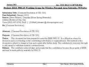 January 2011 doc IEEE 802 15 11 0079