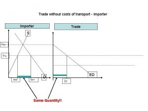Trade without costs of transport importer Importer Trade