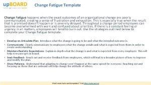 Change Fatigue Template Change Fatigue happens when the