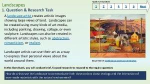 Landscapes SLIDE NAVIGATION 1 1 Question Research Task