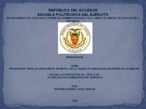 REPBLICA DEL ECUADOR ESCUELA POLITCNICA DEL EJRCITO DEPARTAMENTO