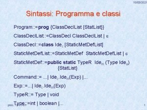 10032021 Sintassi Programma e classi Program prog Class