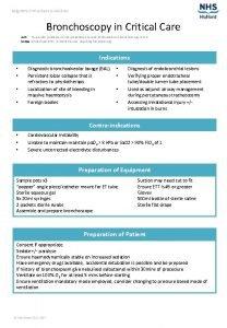Raigmore Critical Care Guidelines Bronchoscopy in Critical Care