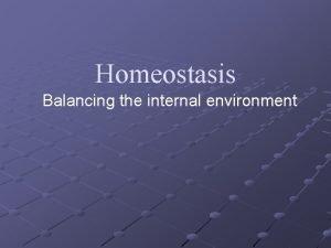 Homeostasis Balancing the internal environment External vs Internal