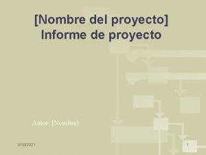 Nombre del proyecto Informe de proyecto Autor Nombre